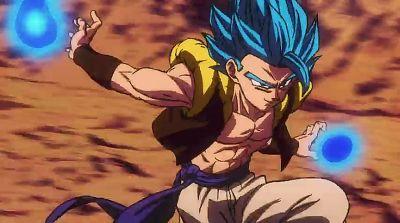 そして神の気をまとってブルーになったゴジータブルーの登場です。 フルパワーのブロリーに対して余裕の表情ですね。